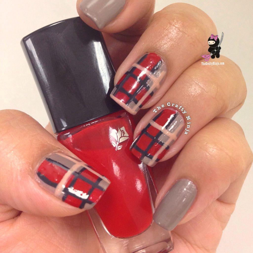 fall plaid print nails crafty