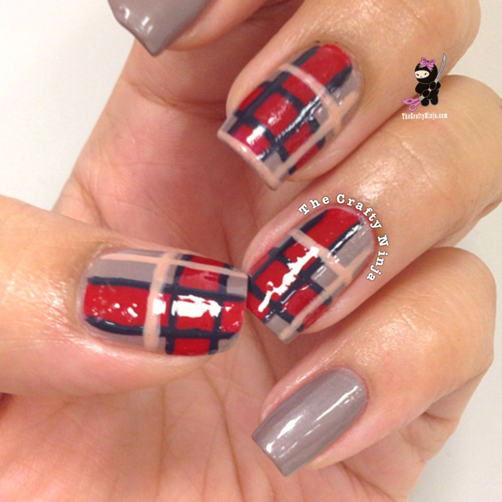 Fall Plaid Print Nails The Crafty Ninja