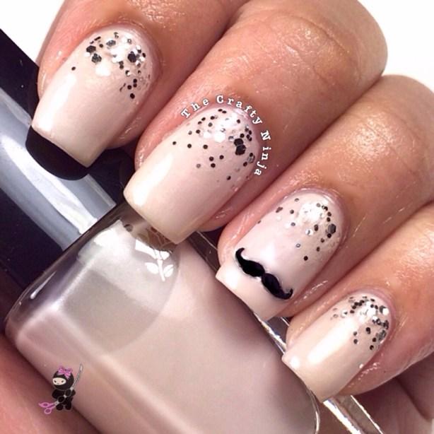 Mustache Glitter Gradient Nails