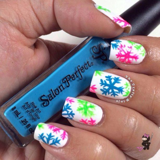 Bright Snowflake Nails