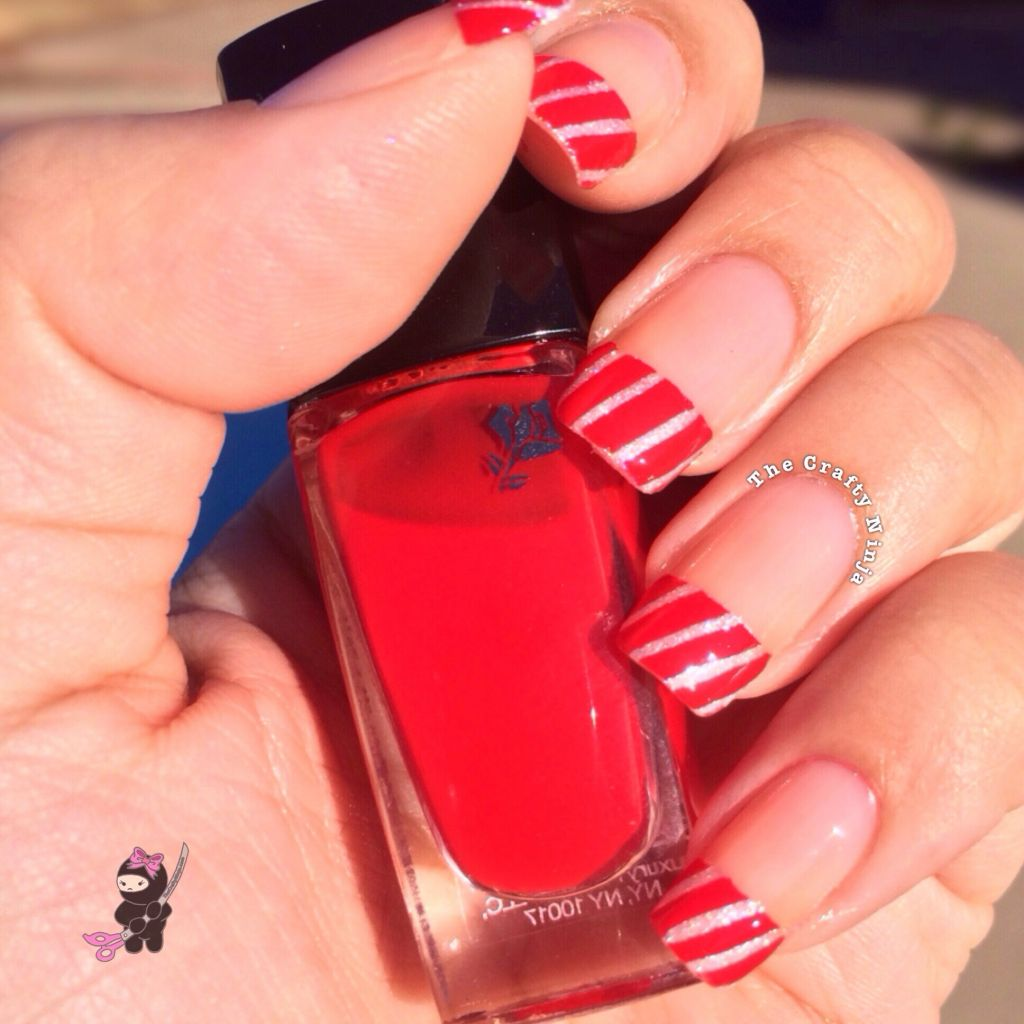 Christmas Nails Tutorial Youtube: Candy Cane French Tip Nail Design