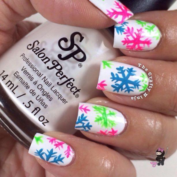 Neon Snowflake Nails