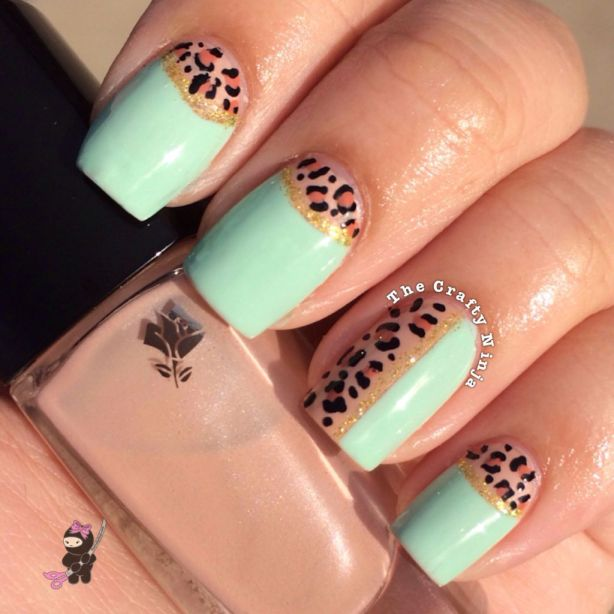 Half Moon Leopard Nails