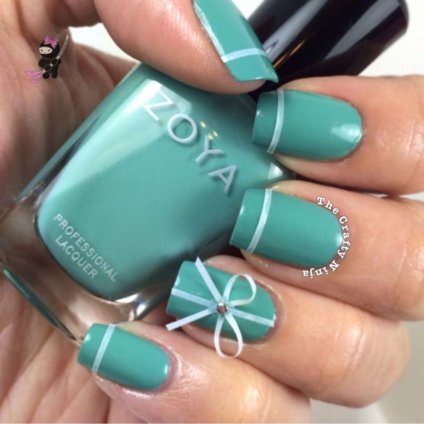 Tiffany Blue Bow Nails
