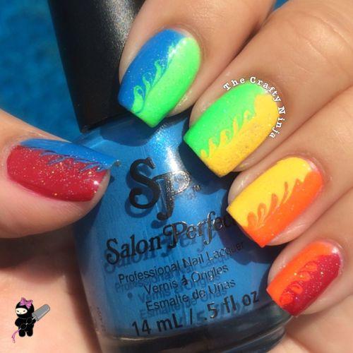 Rainbow Swirls Nails