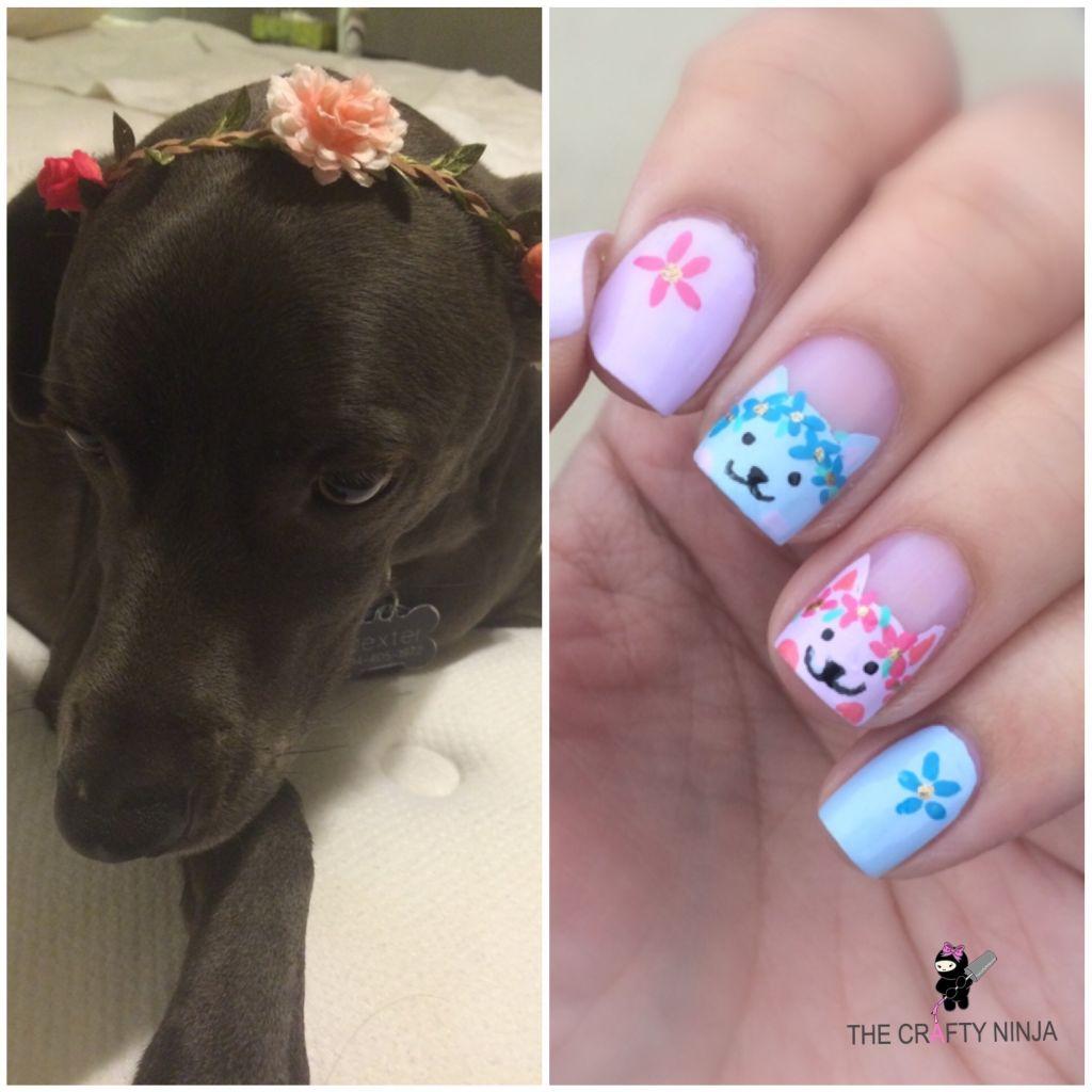 Flower Kitty Nails The Crafty Ninja
