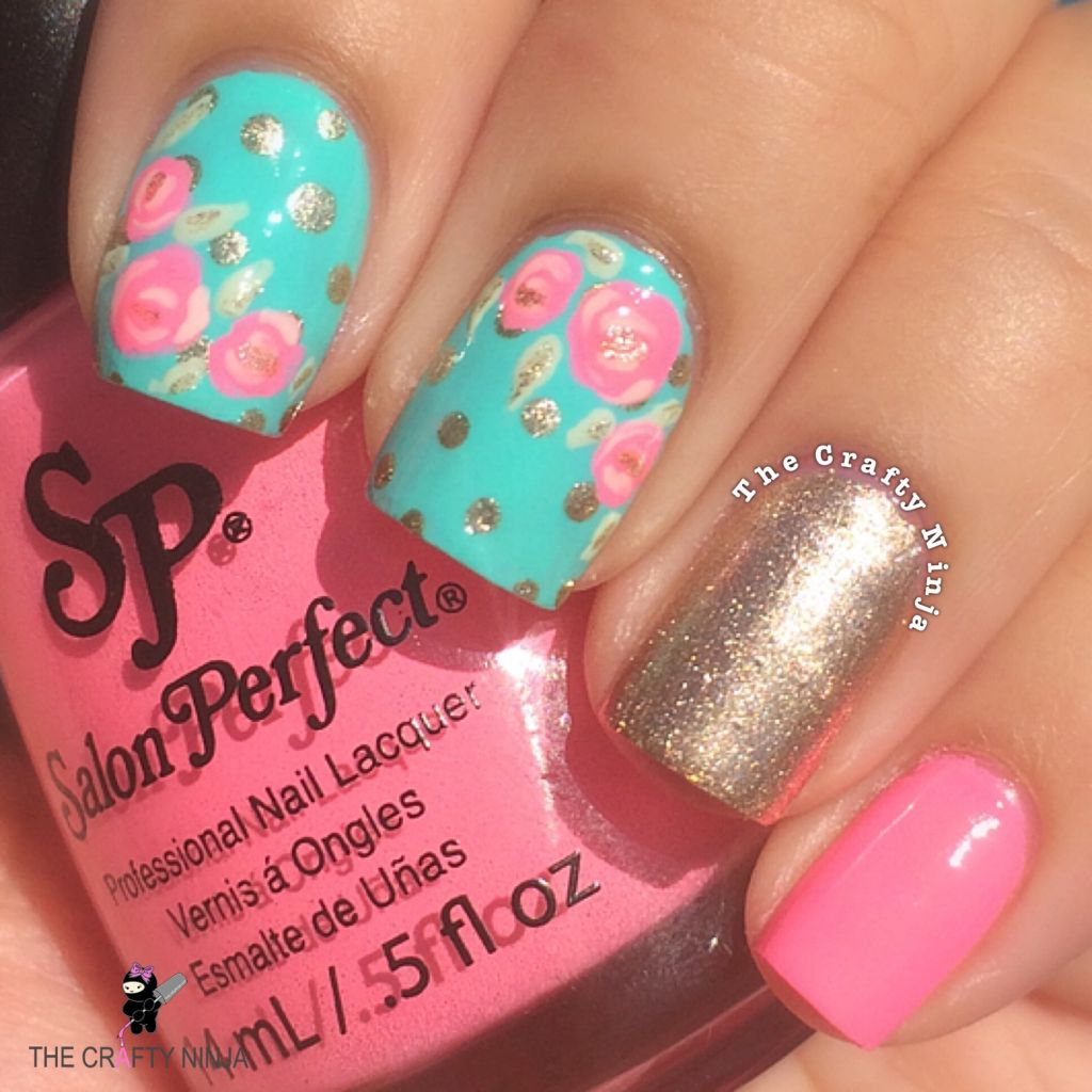 Mint And Pink Rose Nails