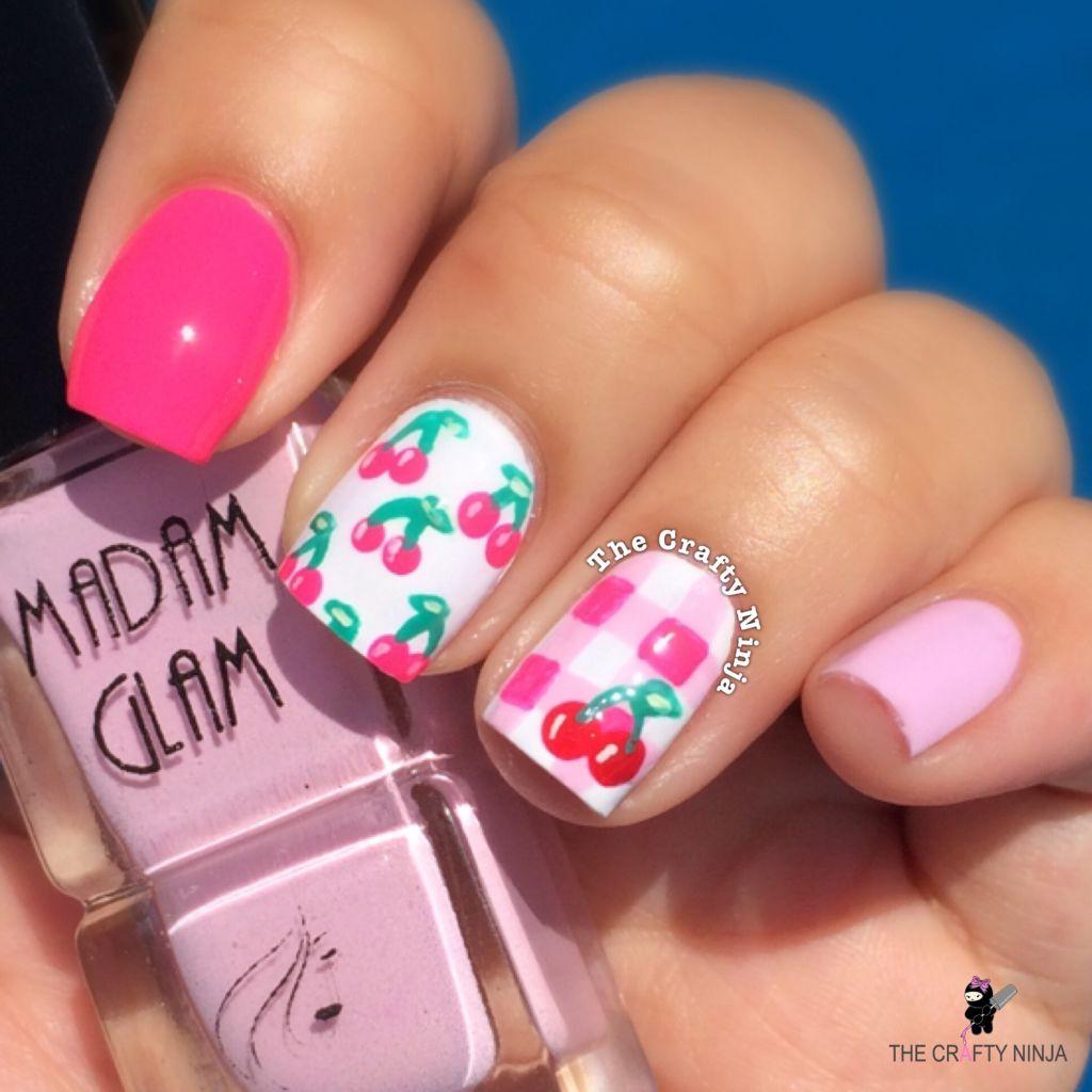Pink Cherry Nail Art