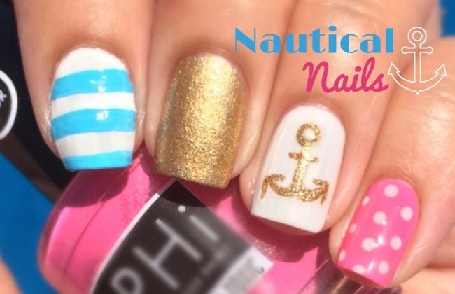 Pink and Blue Nautical Nails | The Crafty Ninja