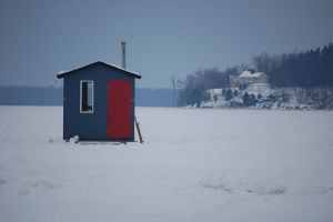 Ice-fishing huts on the Ottawa River