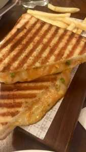 Classic three cheese grilled sandwich at The Nutcracker, Bandra, Mumbai.