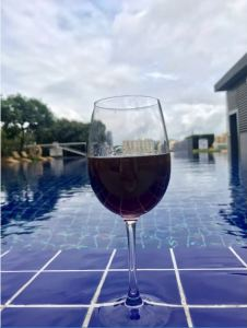 Wine by the pool.