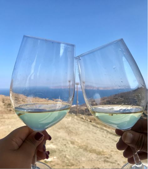 Greek wine with a view at Vaptistis Winery, Tinos island, Greece.