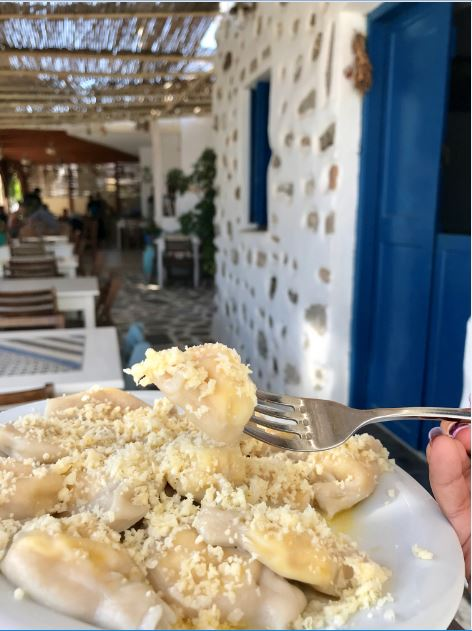 Local Greek Pasta with Astypalea Cheese.
