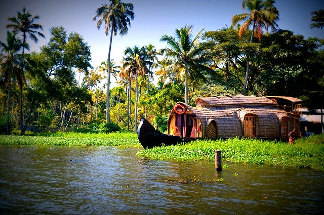 Our beautiful houseboat in Alleppey, Kerala.