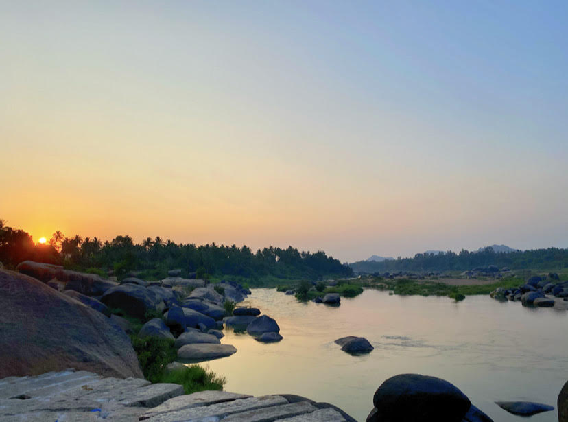 Sunsets over the Tungabhadra river.