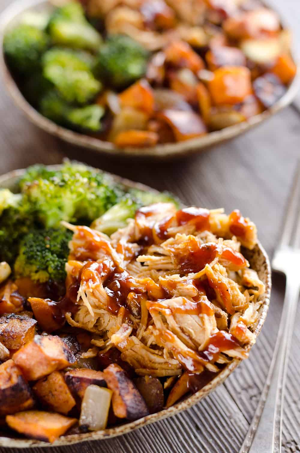 BBQ Chicken & Roasted Sweet Potato Bowls - Easy Meal Prep