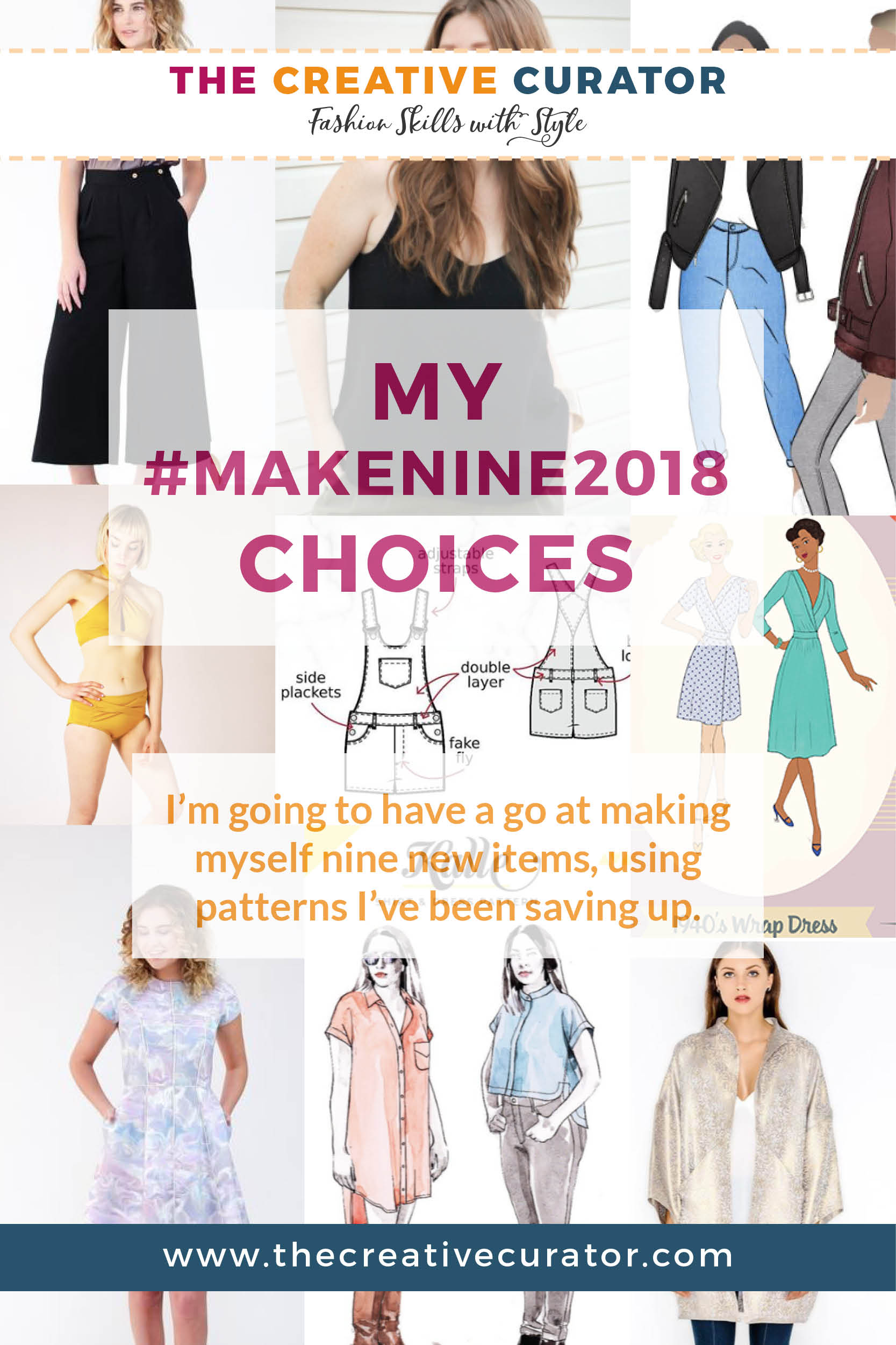 Have you made any of the sewing patterns I've chosen in my 2018 Make Nine choices? Click to see my choices, and why they're going to be great for me this year! they're a varied bunch, which should work well to keep me clothed stylishly throughout 2018, and will lessen the chances of me having to buy anything new! #sewing #2018makenine #sewingblogger #sewingpatterns