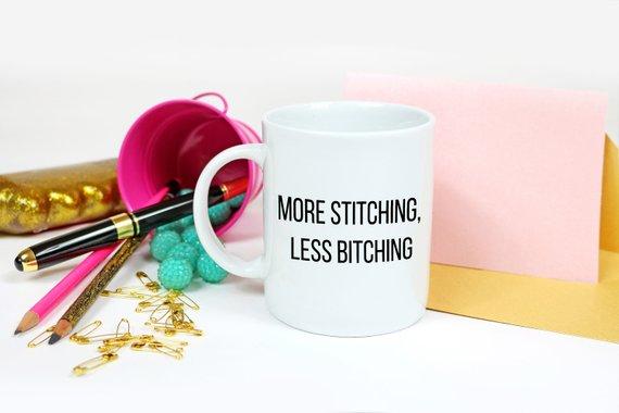 More stitching less bitting sewing mug.