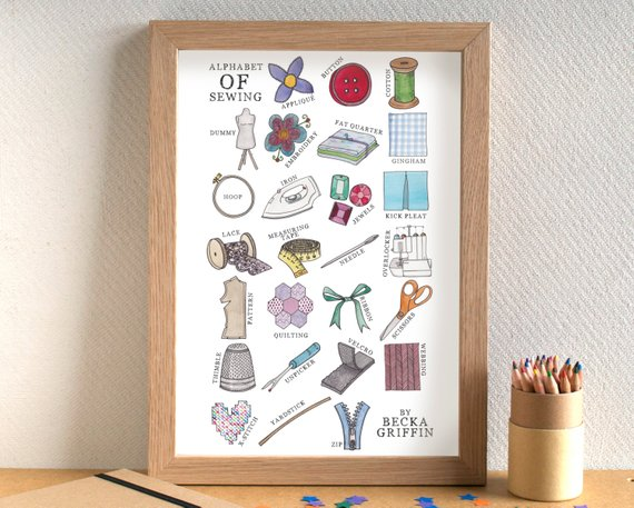 A hand drawn and painted sewing alphabet print