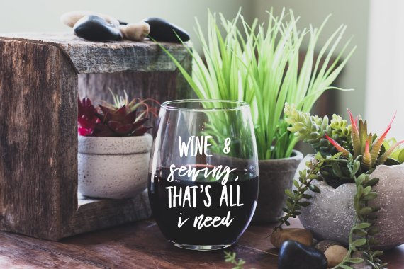 sewing wine glass