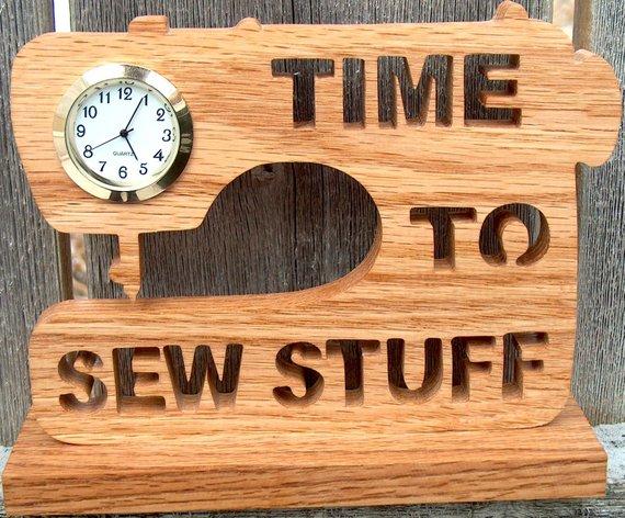 Wooden sewing machine clock
