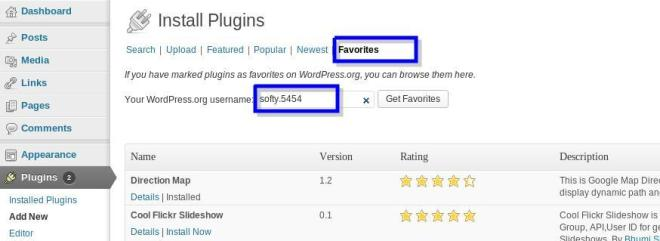 Simple Plugin Install with Favorites