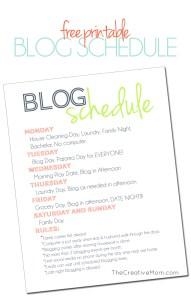 Blog Schedule (free printable)
