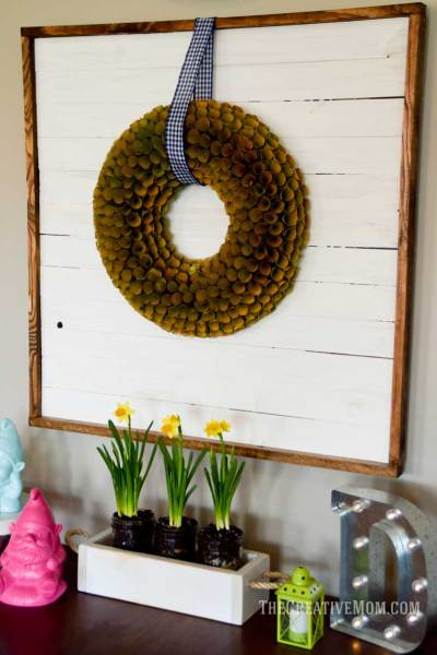 farmhouse desk and wreath