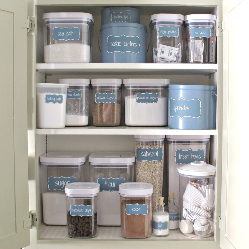Organize A Baking Cabinet With Free Printable Pantry Labels