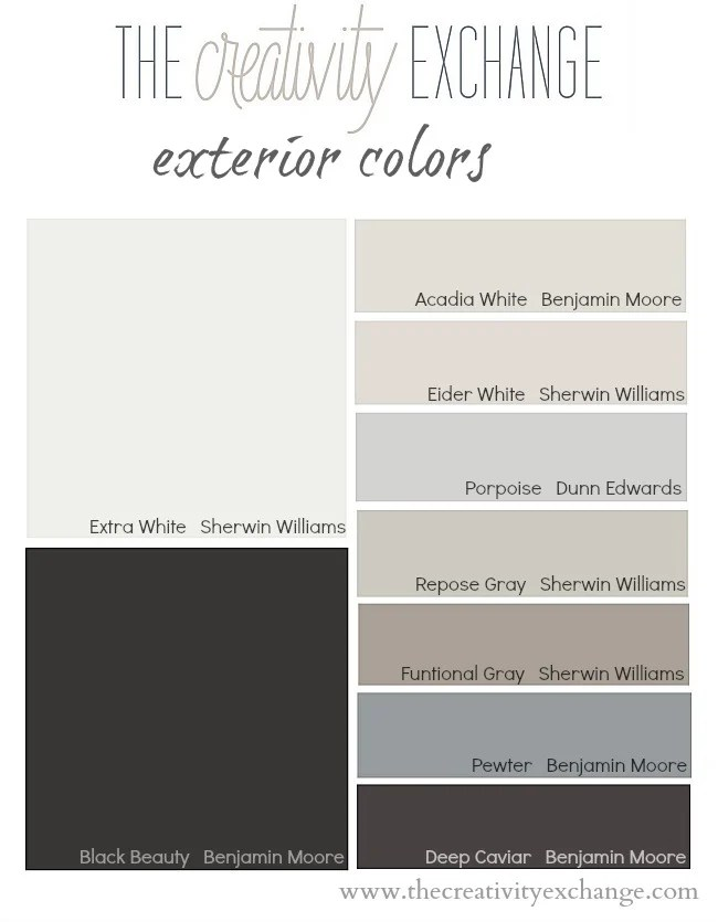 Outside House Paint Color Card