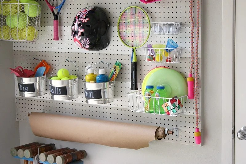 DIY Garage Pegboard Outdoor Toy Storage Wall {The Creativity Exchange) ScotchBlue Tape