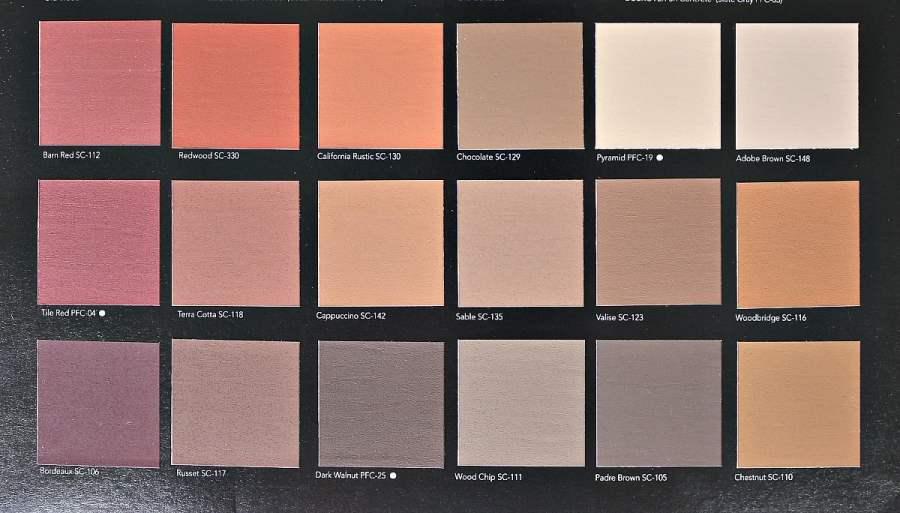 Behr DeckOver Paint Color Choices. Sheet 1
