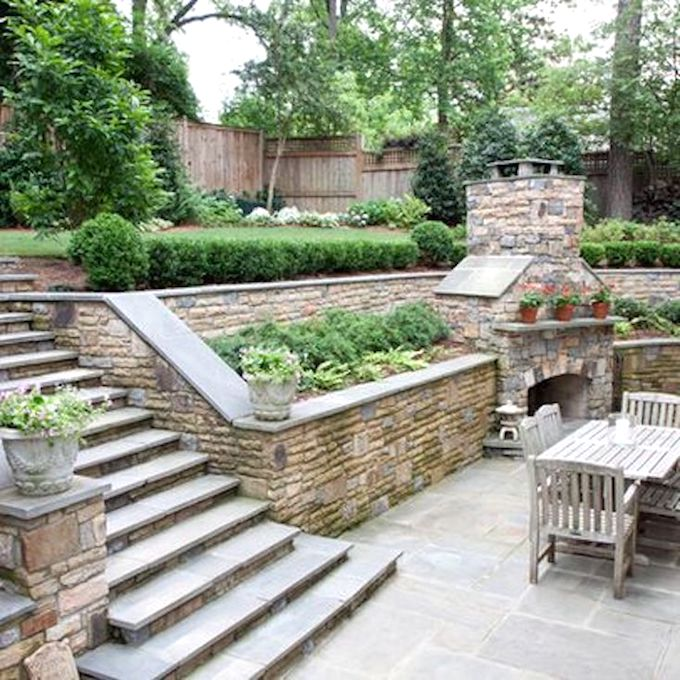 Creative Outdoor Fireplace Designs and Ideas on Patio Ideas For Sloping Gardens id=21084