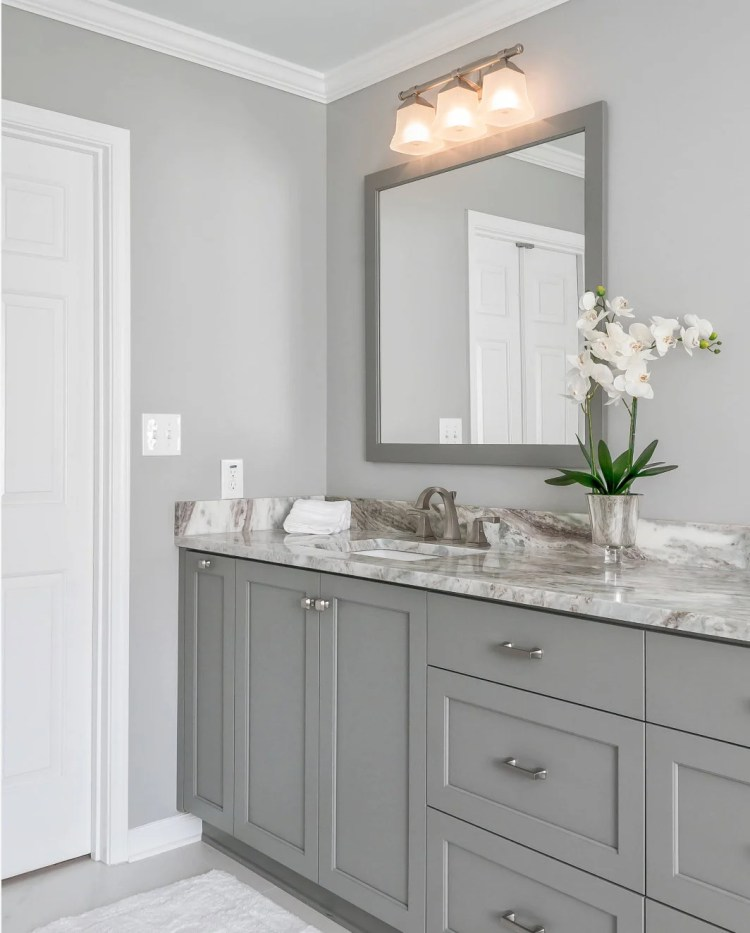 Both wall color and cabinetry color are Sherwin Williams Light French Gray