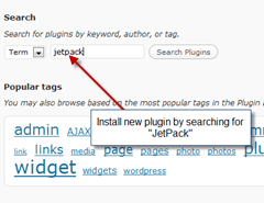 step1 searchl jetpack plugin on wordpress thumb How to install JetPack on WordPress blog ?
