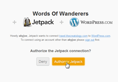 step3 1 authorize jetpack plugin on wordpress thumb How to install JetPack on WordPress blog ?