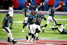MINNEAPOLIS, MN - FEBRUARY 04: The Philadelphia Eagles celebrate defeating the New England Patriots in Super Bowl LII at U.S. Bank Stadium on February 4, 2018 in Minneapolis, Minnesota.  (Photo by Gregory Shamus/Getty Images)