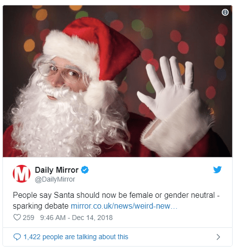 Santa Gender article in the Mirror