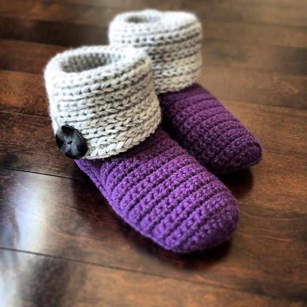 Knot Knit Slipper Boots by A Crocheted Simplicity