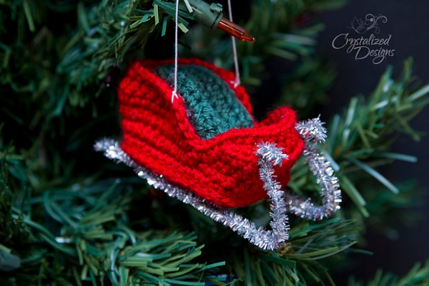 Santa's Sleigh Ornament by Crystalized Designs