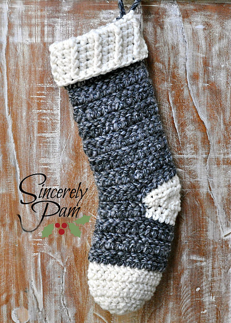 Steff Herringbone Stocking by Sincerely Pam