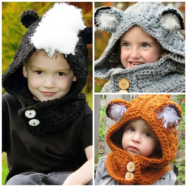 Woodland Friends Hooded Cowl (Fox Skunk Wolf) by Sincerely Pam