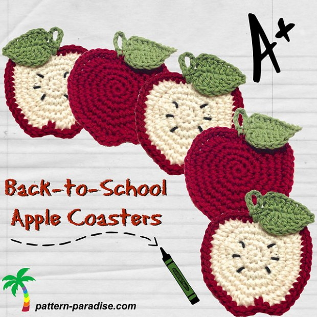 Back to School Apple Coasters & Pouch by Pattern Paradise