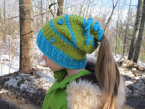 Floating Hearts Convertible Beanie by Blackstone Designs