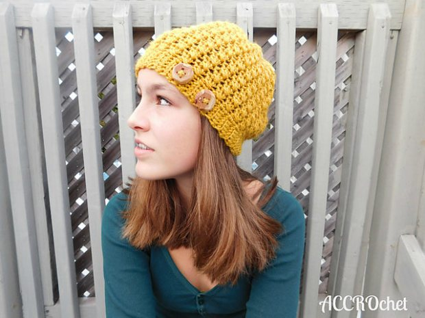 Mustard hat by ACCROchet
