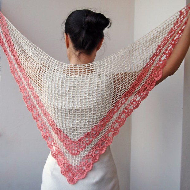Spring Blossom Lace Triangle Wrap Shawl by Accessorise