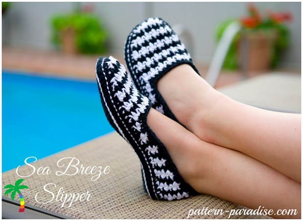 Sea Breeze Houndstooth Slippers by Maria Bittner