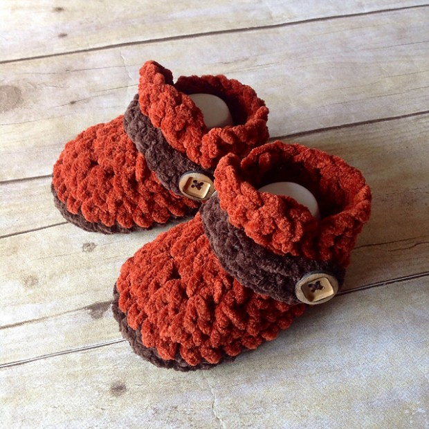Button Strap Baby Loafers by Crochet by Jennifer -Jennifer Dougherty