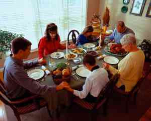 Family Praying Before Dinner